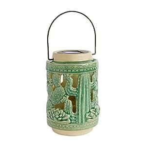 "9"" Cutout Cactus Led Solar Ceramic Lantern"