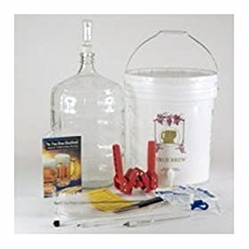 Home-Brew Starter Kit (K7) Gold Kit with 5 gal GLASS Carboy and Carboy Brush and Stainless Steel Spo