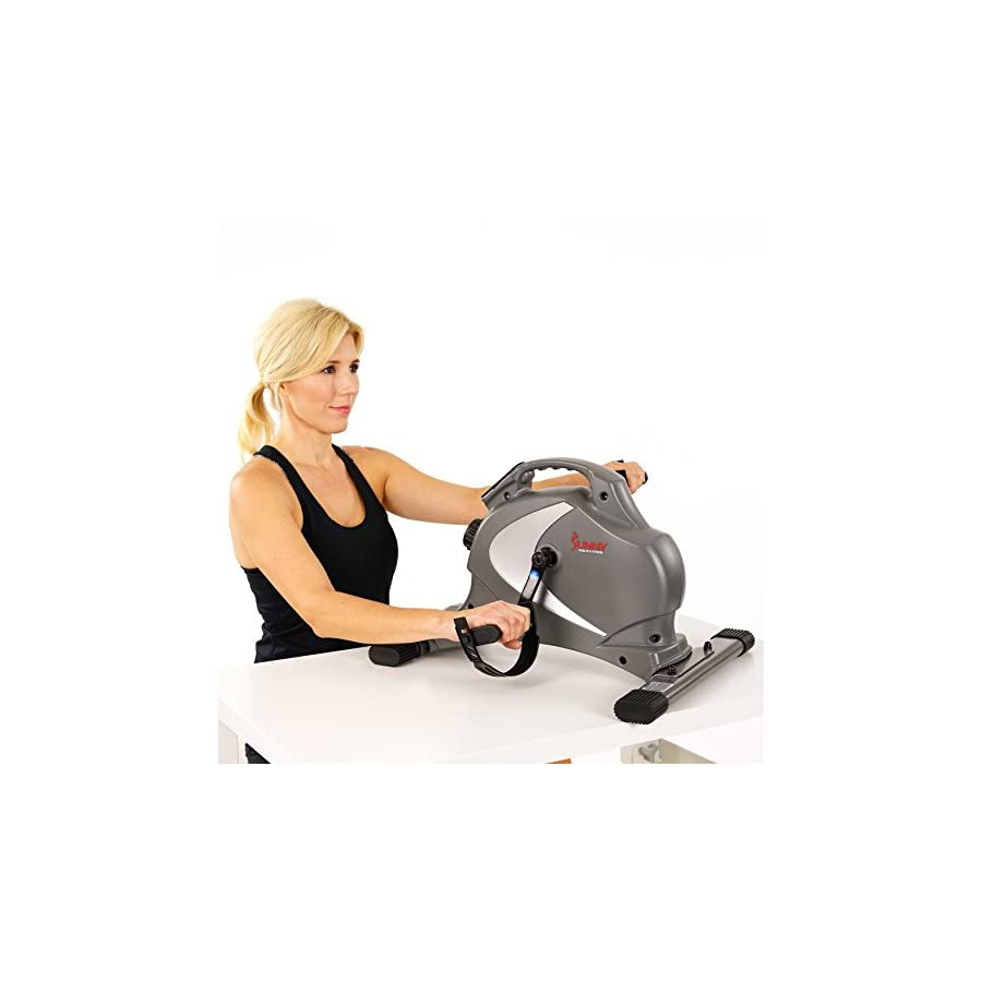 Sunny Health & Fitness Magnetic Mini Exercise Bike with Digital Monitor and 8 Level Resistance