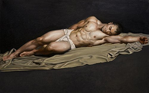 100% Hand Painted NUDE sleeping MAN MALE Strong body GAY art Canvas Oil Painting for Home Wall Art by Well Known Artist, Framed, Ready to Hang