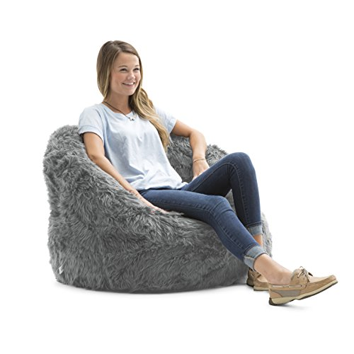 Gray Bag Bean Chair (Big Joe Lux Milano in Shag, Grey)