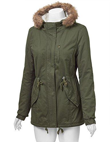 LL WJC1032 Womens Milatary Anorak Safari Jacket with Hood L OLIVE