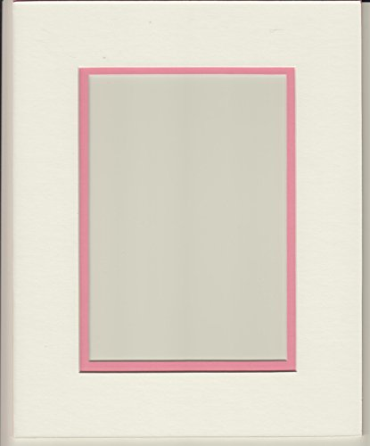 Pack of 5 11x14 White & Bubble Gum Pink Double Picture Mats Cut for 8x10 -