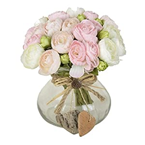 Artificial Flower 10 Heads Bounquet Tea Bud for Home and Wedding Without Vase & Basket, 1 Flower, Pink 56