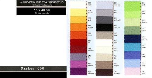 Kissenbezug, Kissenhülle für NACKENROLLE in vielen Farben mit Kordel-Verschluss! / Material: Mako-Feinjersey aus 100% gekämmter Baumwolle / Größe: passend für Nackenrollen bis 15 x 40 cm / Farbe: (000 - weiß)