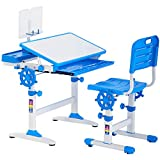 FDW Kids Desk Student Desk Ergonomic Height Adjustable Study Desk with Pencil Case,Bookstand,Blue