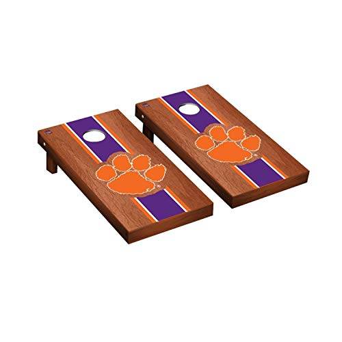 Victory Tailgate Regulation Collegiate NCAA Rosewood Stained Stripe Series Cornhole Board Set - 2 Boards, 8 Bags - Clemson Tigers