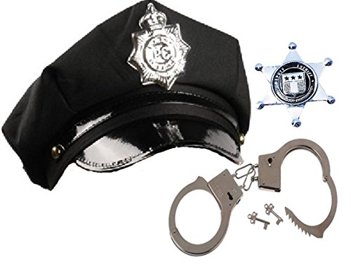 Police Role Play Dress up Set - Hat, Handcuffs, and Badge