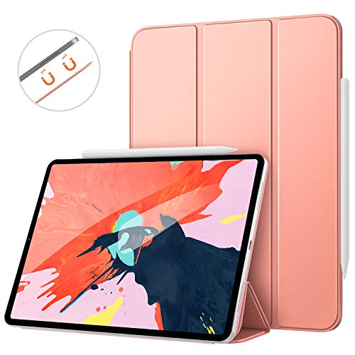 MoKo Smart Folio Case Fit iPad Pro 12.9 2018 - [Support Magnetically Attach Charge/Pair] Slim Lightweight Smart Shell Stand Cover, Strong Magnetic Adsorption, Auto Wake/Sleep - Rose Gold