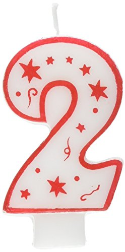 Numeral Birthday Candle with Red Outline, Red Dots and Red Stars (NUMBER 2) -