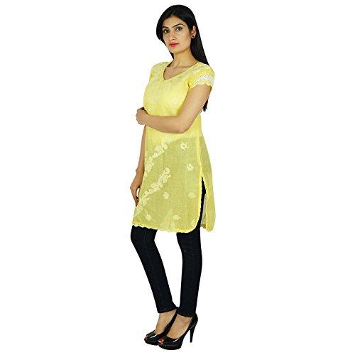 Chikan bordado indio étnico Mujeres Kurti ocasional del algodón vestido de la túnica regalo para ella De color amarillo pálido