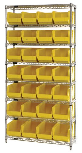 Quantum Storage Systems WR8-240RD 8-Tier Complete Wire Shelving System with 28 QUS240 Red Giant Open Hopper Bins, Chrome Finish, 14