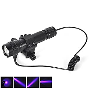 1 Set (1-Pcs) Overwhelming Fashionable 600-Lumens UV LED Flashlights Aluminum Alloy Shock Resistant Military Grade Police Lights Tactical Lamp Color Black with Mount and Remote Switch