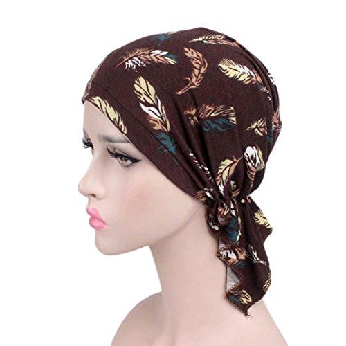 Hongxin Hot Sale 2018 Women Floral Print Beanie Turban Hat India Muslim Elastic Cotton Beanie Hat Turban Headwear For Cancer Patients Head Scarf Creative Gift For Her (D)