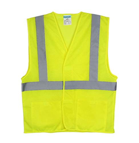 SHORFUNE High Visibility Safety Vest with 2 Pockets and Reflective Strips, Loop and Hook, Yellow, ANSI/ISEA Standards, S-M]()