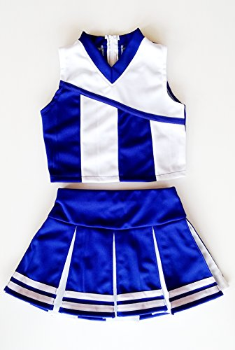 [Little Girls' Cheerleader Cheerleading Outfit Uniform Costume Cosplay Blue/White (L / 8-10)] (Cheerleader Outfit For Girls)