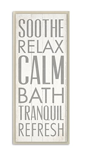 Bathroom Wall Plaques (Stupell Home Décor Soothe Calm Relax Bath Bathroom Wall Plaque, 7 x 0.5 x 17, Proudly Made in USA)