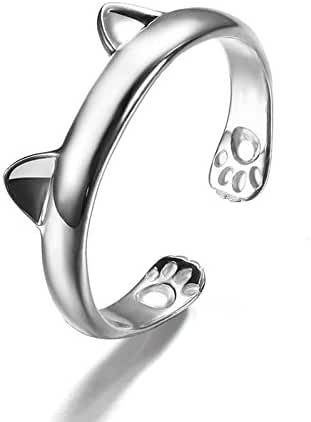 Showfay Cute Kitten Small Cat Claws Adjustable Open Ring for Girls/Women