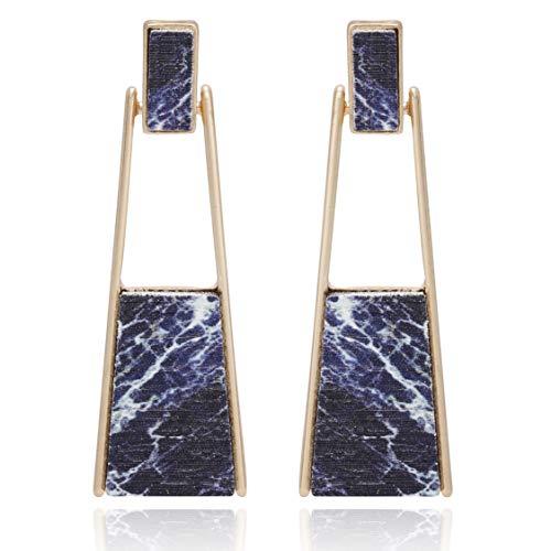 Handmade Earrings Dangling (BONALUNA Bohemian Wood And Marble Effect Oblong Shaped Drop Statement Earrings)