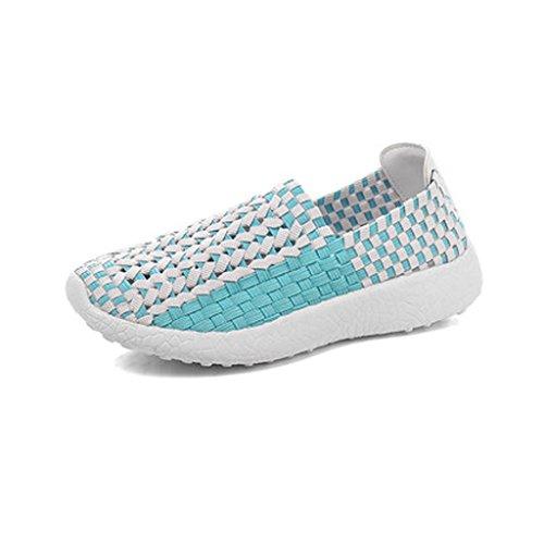 Blancos Salvaje De Pedal Transpirable Azul Tela Casual Tejido Lazy Coreana Mujer Versión Zapatos Sandales Twqd7R7