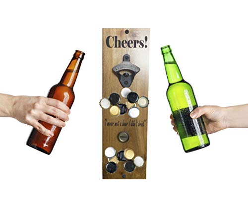 Wall Mount Bottle Opener With Magnetic Bottle Cap Catcher - Laser Engraved Hard Wood - Made In The U.S.A (Hardwood, Cheers W/Quote - Long)