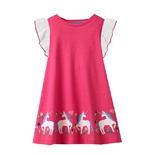 VIKITA Girls Summer Horse Pink Dresses Short Sleeve Casual Cotton Dress SH7778 6T -