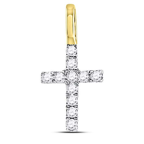 14kt Yellow Gold Womens Round Diamond Dainty Cross Pendant 1/10 ()