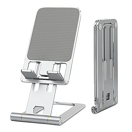 VENROII Adjustable Cell Phone Stand for Desk - Foldable Aluminum Desktop Phone Holder Mount Cradle Dock, Compatible with Phone 12 Mini 11 Pro Xs Xs Max Xr X 8 Plus All Smartphones, Tablets (4-12'')