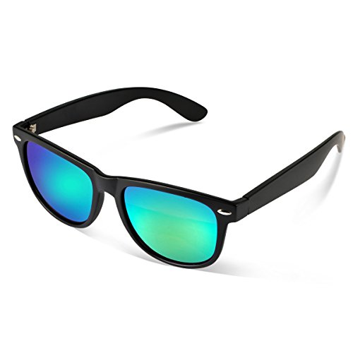 Duduma® Reflective Revo Color Full Mirrored Lens Large Horn Rimmed Style Uv400 Wayfarer Sunglasses (black/green blue)