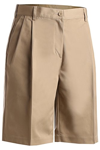 Ed Garments Women's Pleated Front Button Closure Utility Short, TAN, 14
