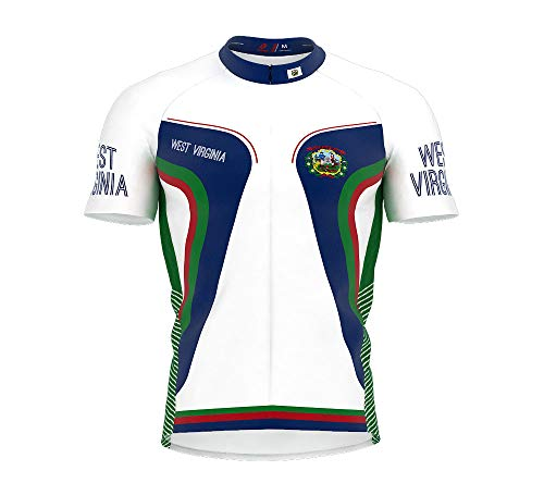 - ScudoPro West Virginia Bike Short Sleeve Cycling Jersey for Men - Size L