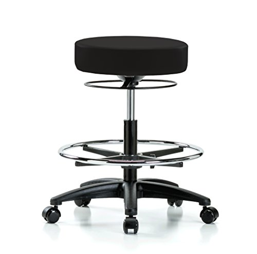 Perch Stella Rolling Adjustable Stool with Footring Medical Salon Spa Massage Tattoo Office 21'' - 28.5'' (Hard Floor Casters/Black Vinyl) by Perch (Image #5)