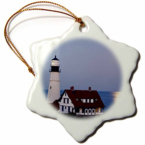 3dRose USA, Maine, Portland, Cape Elizabeth, Lighthouse with Full Moon. - Snowflake Ornament, Porcelain, 3-Inch - Elizabeth Lighthouse Cape