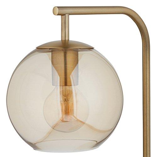 Rivet Hudson Mid-Century Brass, With Bulb, Tinted Glass Globe, 14