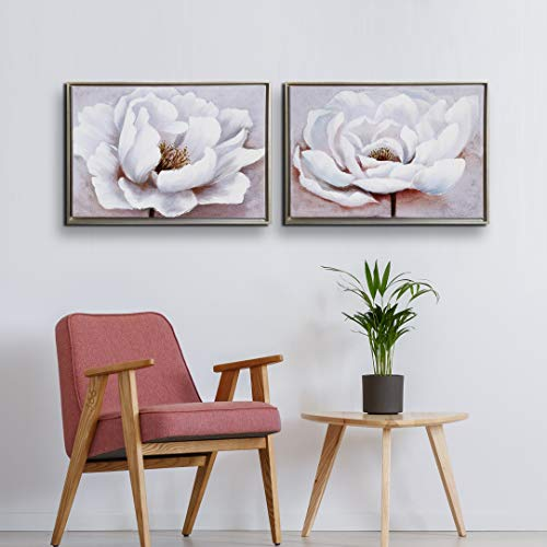 Flower Canvas Wall Art for Living Room Modern Silver Framed Artwork Bedroom Wall Decor White and Pink Floral Painting 'Blooming White Flower ' Home Decoration for Dinning Room Girl Room 16x24inx2pcs