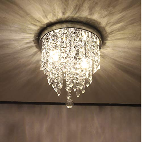 Crystal Raindrop Chandelier - Modern Hanging Linear Round Island Lighting Fixture - Ceiling Pendant Lamp LED Home Decor 2 Lights G9 - Flush Mount H10.4