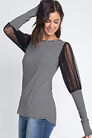 0264727460 Become All Things Boat Neck Dotted mesh Balloon Sleeve top at Amazon ...
