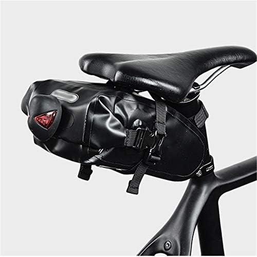 自転車用サドルバッグ 1.2Lサイクリングテールバッグストラップオンバイクシートバッグ軽量バイクサドルバッグ防水用マウンテンロードMTBバイク MBTまたはロードバイクシート用 (Color : Black, Size : 1.2L)