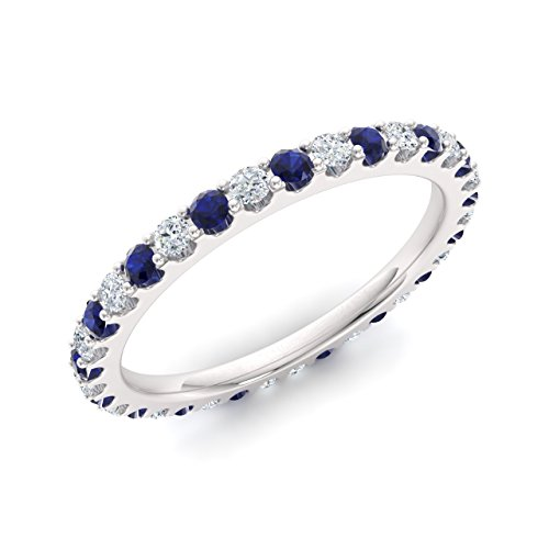 Diamondere Natural and Certified Blue Sapphire and Diamond Wedding Ring in 14K White Gold | 0.87 Carat Full Eternity Stackable Band for Women, US Size 7