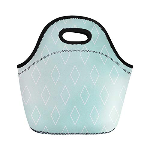Semtomn Lunch Tote Bag Blue Diamond Pattern Mint Green and White Bathroom Halloween Reusable Neoprene Insulated Thermal Outdoor Picnic Lunchbox for Men Women -