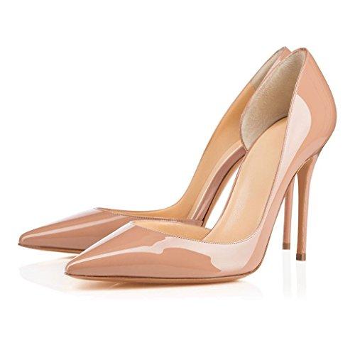 Arc-en-Ciel zapato de tacón alto zapatos de charol de las mujeres Nude