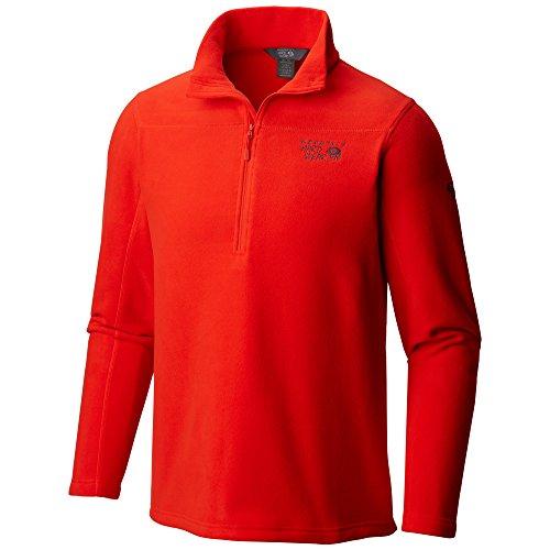 Mountain Hardwear Mens Microchill 2.0 Zip T, Fiery Red/Stone, Large -