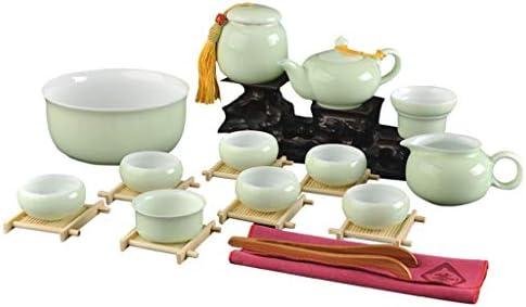 日本茶・茶道道具 カンフーティーセットセラドンティーカバーボウル小カップセラミックティーポット最高の贈り物のホームシンプルセット ティー用品 (Color : Green)