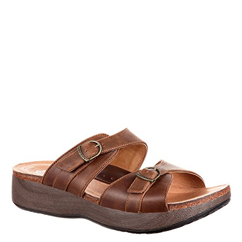 4eursole Golden Day 2-strap Wedge Slide Sandalia Para Mujer Marrón