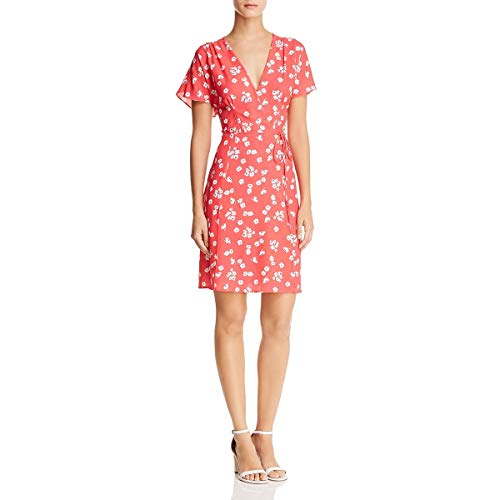 French Connection Print - French Connection Womens Mini Floral Print Wrap Dress Pink 4