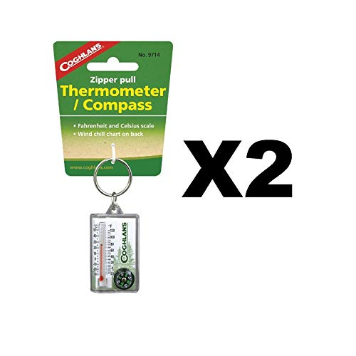 Coghlan's Zipper Pull Thermometer Fahrenheit/Celsius Compass, Windchill (2-Pack)