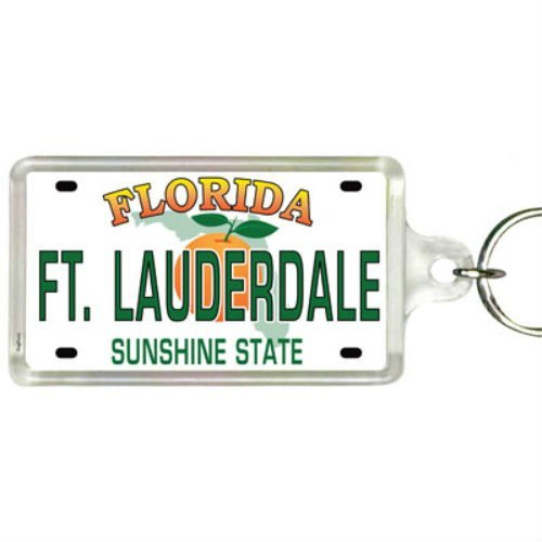 Ft. Lauderdale Florida License Plate Acrylic Rectangular Souvenir Keychain 2.25