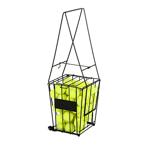 Black Metal Convertible 72 Tennis Ball Pick Up Hopper, Training Aid Storage Basket Stand & Wheeled Cart