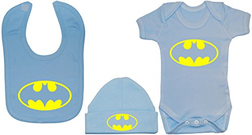 0 Products Body Bat Acce 12 mameluco y meses babero Batman a gorro Baby Blue gorro Uqdzw5xzt