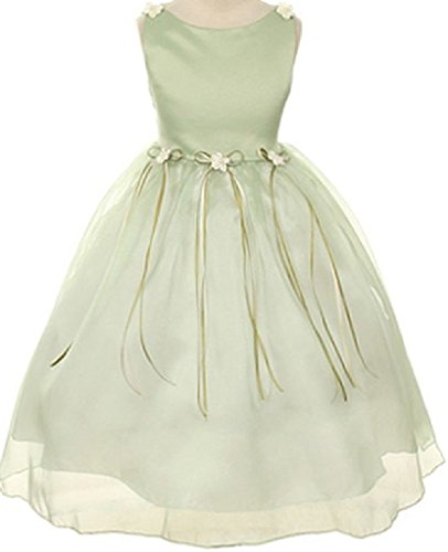 [Rosebud Flower Bow Ribbons Big Girl Flower Girls Dresses (14KD9) Sage 8] (Romantic Bridals Flower Girl Dress)
